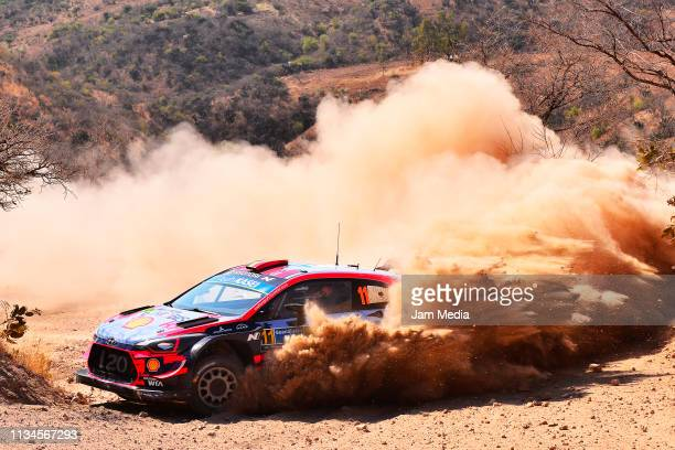 Thierry Neuville of Belgium and Nicolas Gilsoul of Belgium of Hyundai Shell MObis World Rally Team compete during day one of the FIA World Rally...