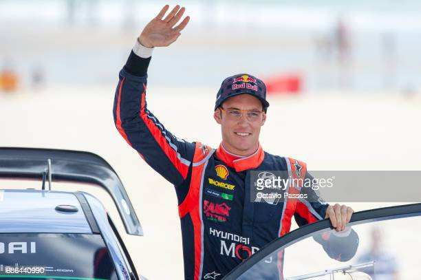 Thierry Neuville of Belgium at the award ceremony awards for the WRC Portugal on May 21 2017 in Matosinhos near Porto Portugal