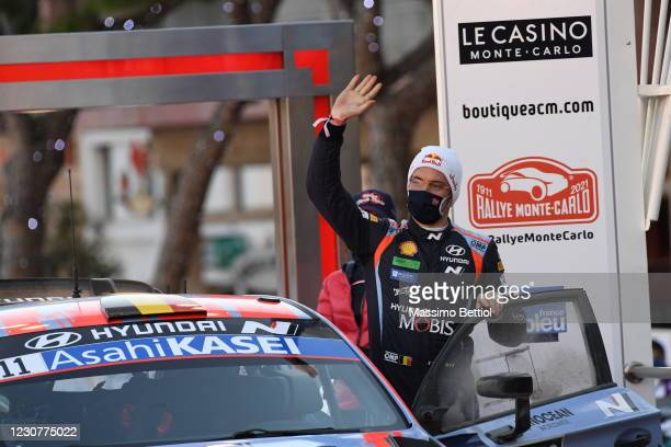 Thierry Neuville of Belgium celebrates finishing third overall during the FIA World Rally Championship Monte Carlo Day Four on January 24, 2021 in...