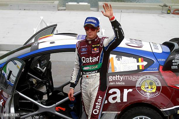 Thierry Neuville of Belgium celebrates third place during day three of FIA World Rally Championship Mexico on March 10 2013 in Leon Mexico