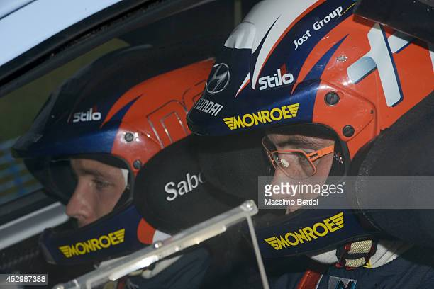 Thierry Neuville of Belgium during the Shakedown of the WRC Finland on July 31 2014 in Jyvaskyla Finland