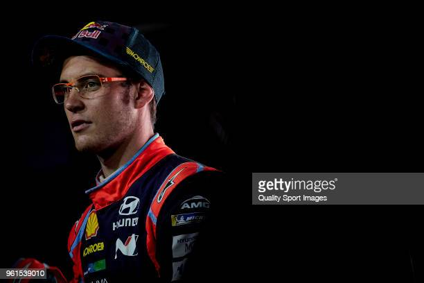 Thierry Neuville of Belgium looks on during press conference at the end of day two of World Rally Championship Portugal on May 18 2018 in Matosinhos...