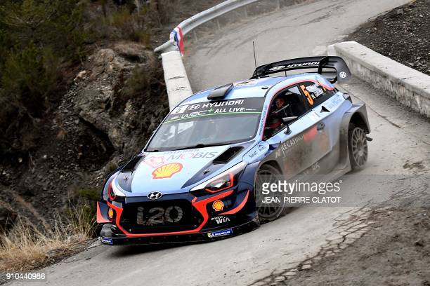 Thierry Neuville steers his Hyundai I20 WRC during the ES 3 of the seconde stage of the 86th Monte Carlo Rally, between Vitrolles and Oze, on January...