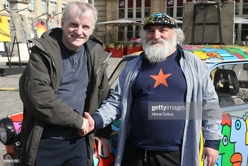 Thierry Noir and Christophe Boucher attend the 'Art Liberte' Exhibition At Gare De L'Est on April 15, 2015 in Paris, France.