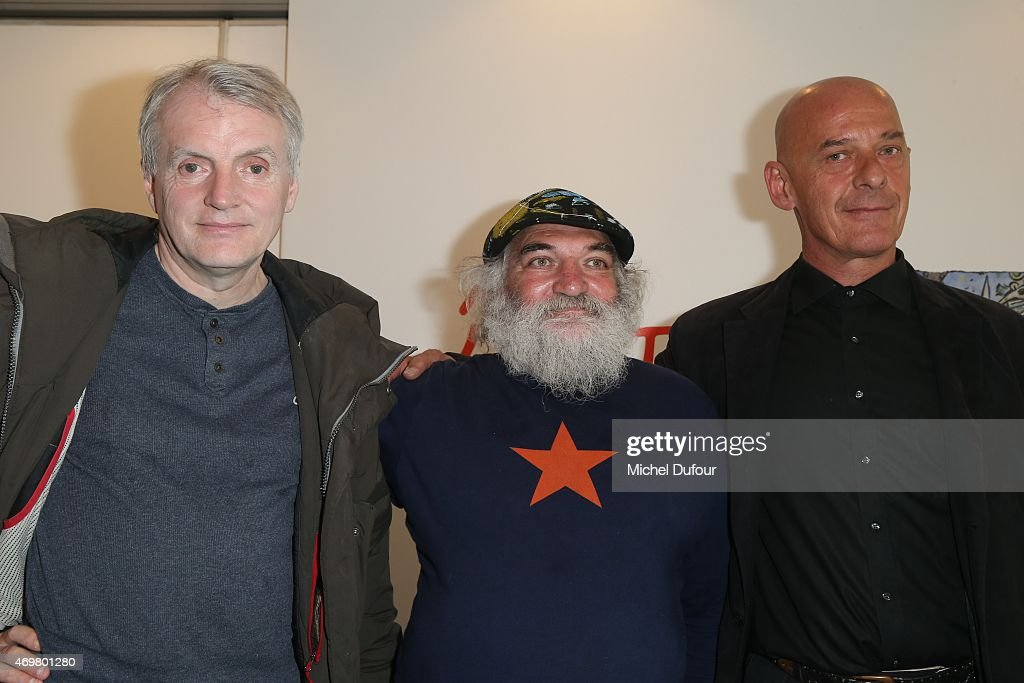 Thierry Noir, Christophe Boucher and Kiddy Citny attend the 'Art Liberte' Exhibition At Gare De L'Est on April 15, 2015 in Paris, France.