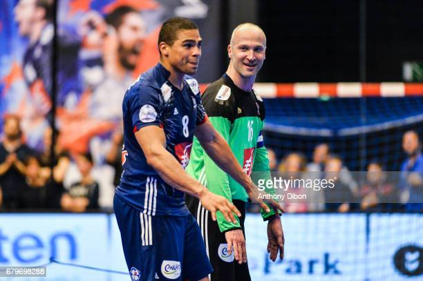 Thierry Omeyer and Daniel Narcisse of France celebrates during the EHF Euro 2018 Qualifiers match between France and Norway on May 6 2017 in...