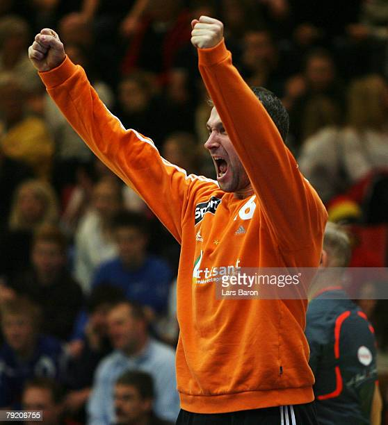 Thierry Omeyer of France celebrates after a save during the Men's Handball European Championship main round Group II match between Germany and France...