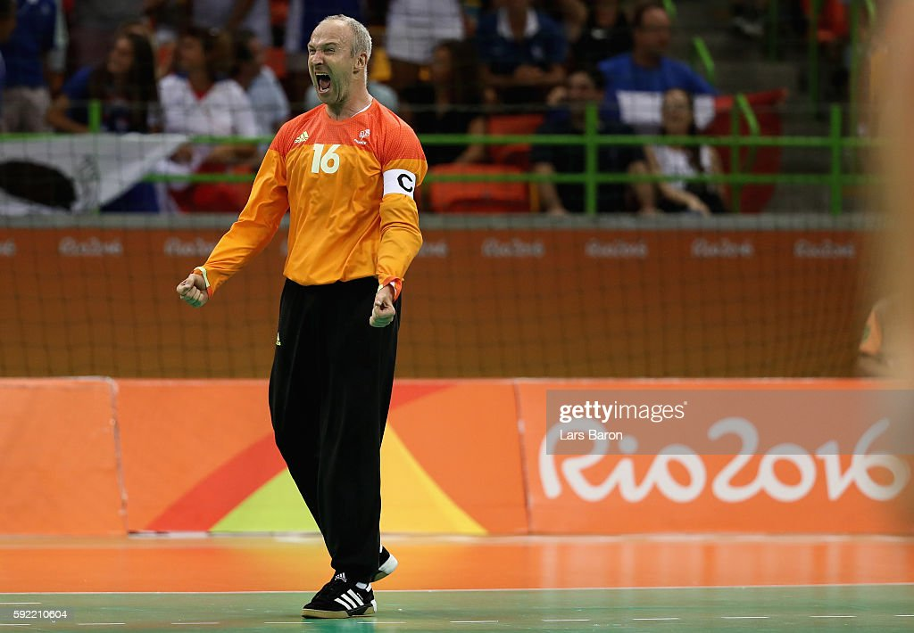 Thierry Omeyer of France reacts during the Men's Handball Semifinal match between France and Germany on Day 14 of the Rio 2016 Olympic Games at Future Arena on August 19, 2016 in Rio de Janeiro, Brazil.
