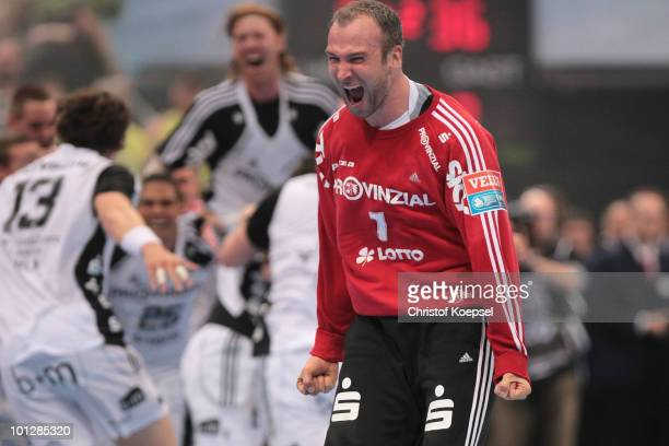 Thierry Omeyer of Kiel celebrates winning 3634 the handball final match between THW Kiel and FC Barcelona Borges at the Lanxess Arena on May 30 in...