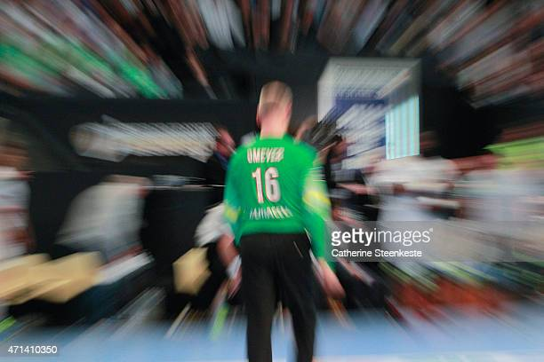 Thierry Omeyer of Paris SaintGermain Handball watches a play during the Coupe de France National Men's Final game between HBC Nantes and Paris...