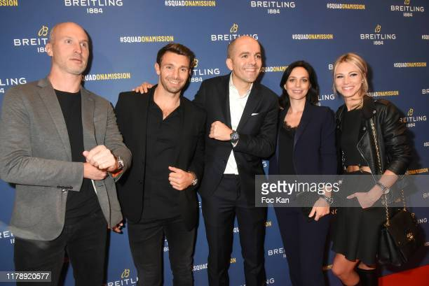R Thierry Omeyer Vincent Clerc Edouard d'Arbaumont Nathalie Pechalat and Marion Rousse attend the Breitling 1884 flagship reopening party at 10 rue...