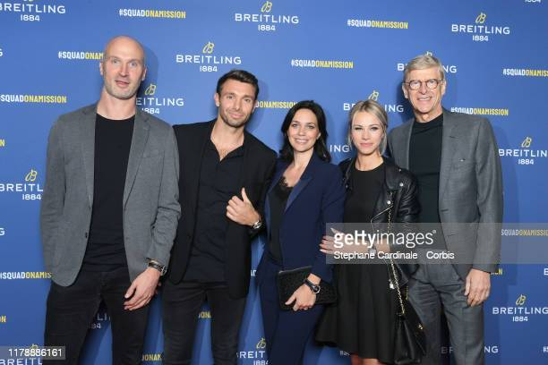 Thierry Omeyer Vincent Clerc Nathalie Pechalat Marion Rousse and Arsene Wenger attend the Breitling 1884 flagship reopening party at 10 rue de la...
