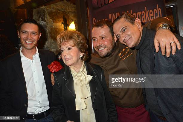 Thierry Saint Jean from 2 Mains Rouge Marthe Mercadier Marc Mitonne and a guest attend the 'Les 10 Ans de Marc Mitonne' Party Hosted by '2 Mains...
