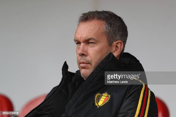 Thierry Siquet manager of Belgium looks on during the UEFA European Under17 Championship Semi Final match between Italy and Belgium at the New York...
