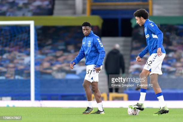 Thierry Small and Tyler Onyango of Everton before the FA Cup Fourth Round match between Everton and Sheffield Wednesday at Goodison Park on January...