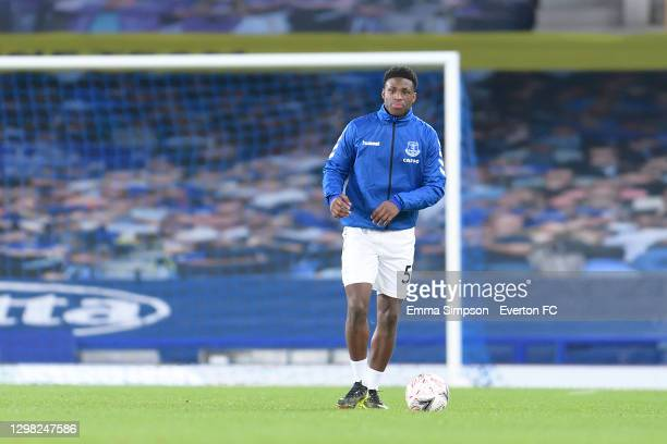 Thierry Small of Everton before the FA Cup Fourth Round match between Everton and Sheffield Wednesday at Goodison Park on January 24 2021 in...