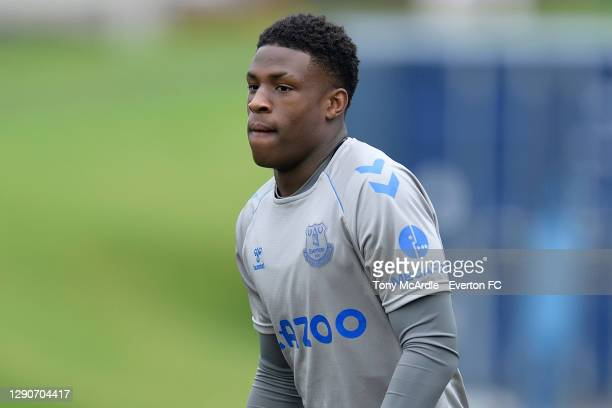 Thierry Small of Everton during the Everton Training Session at USM Finch Farm on December 10 2020 in Halewood, England.