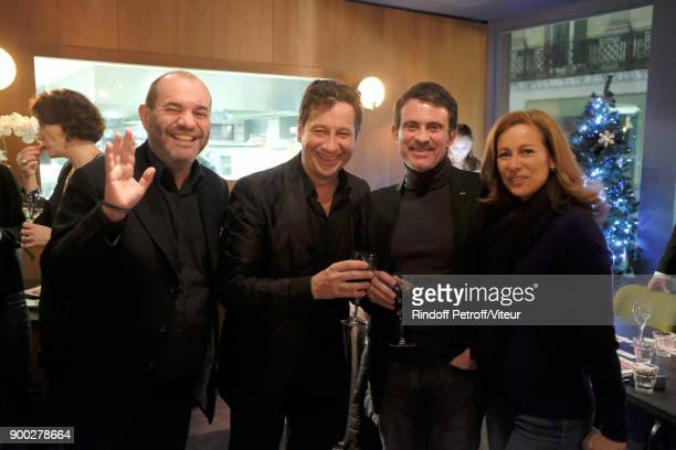 Thierry Suc Laurent Gerra Manuel Valls and Anne Gravoin celebrate the new year during 'Laurent Gerra Sans Moderation at L'Olympia on December 31 2017...