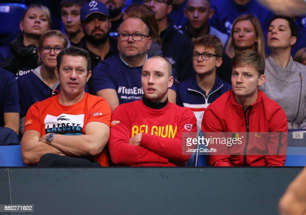 Thierry Van Cleemput coach of David Goffin Steve Darcis David Goffin of Belgium during the doubles match on day 2 of the Davis Cup World Group final...