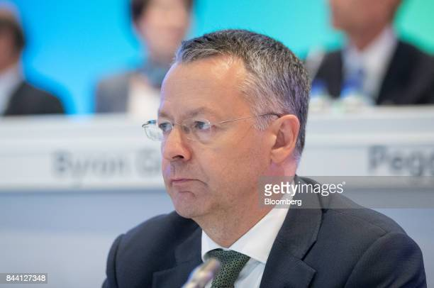 Thierry Vanlancker chief executive officer of Akzo Nobel NV looks on during a shareholder meeting in Amsterdam Netherlands on Friday Sept 8 2017 Akzo...