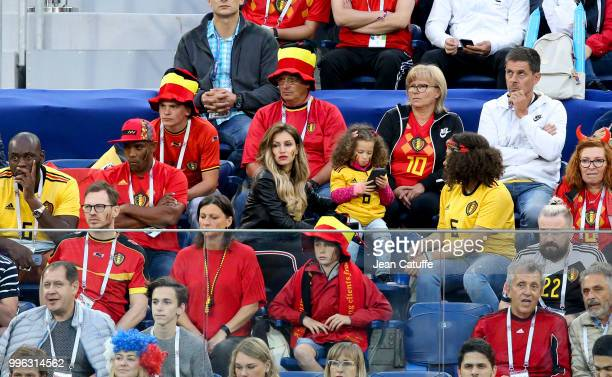 Thierry Witsel father of Axel Witsel of Belgium Rafaella Szabo Axel's wife above them Eden Hazard's parents Carine Hazard and Thierry Hazard during...