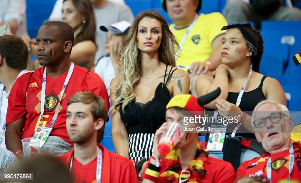 Thierry Witsel father of Axel Witsel of Belgium Rafaella Szabo Witsel Axel's wife during the 2018 FIFA World Cup Russia Round of 16 match between...