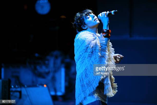 Thievery Corporation performs onstage during day 3 of the 6th Annual Langerado Music Festival at Big Cypress Seminole Reservation on March 8 2008 in...