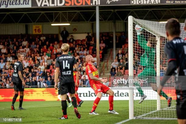 Thijmen Nijhuis of Jong Utrecht during the Dutch Keuken Kampioen Divisie match between Go Ahead Eagles v Utrecht U23 at the De Adelaarshorst on...