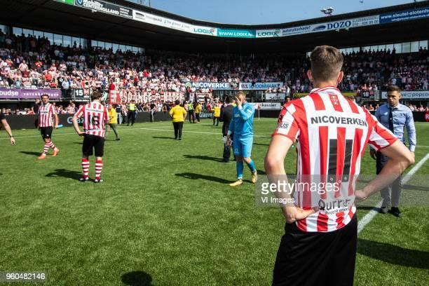 Thijs Dallinga of FC Emmen goalkeeper Peter van der Vlag of FC Emmen Cas Peters of FC Emmen during the Dutch Jupiler League playoffs final match...
