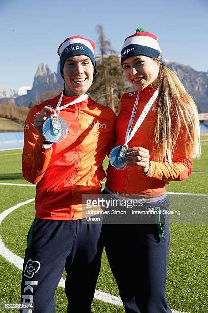 Thijs Govers and Jutta Leerdam of the Netherlands pose with their silver medals after the medal ceremony during the ISU junior world cup speed...