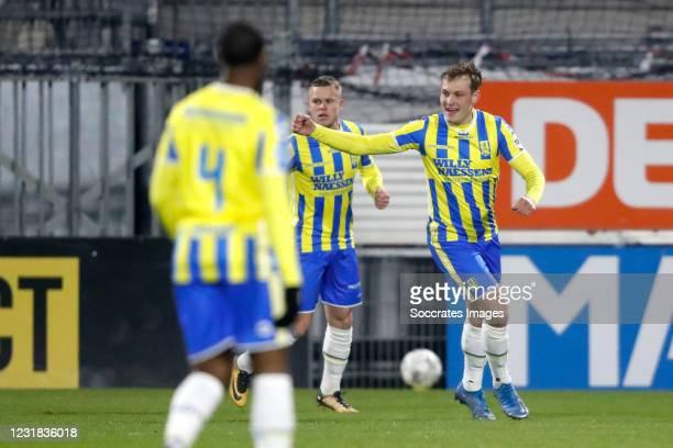 Thijs Oosting of RKC Waalwijk celebrates 1-0 during the Dutch Eredivisie match between RKC Waalwijk v FC Groningen at the Mandemakers Stadium on...