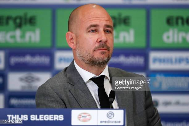 Thijs Slegers of PSV during the press conference during the Dutch Eredivisie match between PSV v VVVVenlo at the Philips Stadium on October 6 2018 in...