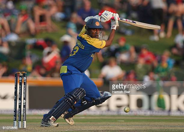 Thilan Samaraweera of Sri Lanka cuts during the ICC Champions Trophy Group B match between South Africa and Sri Lanka played at Super Sport Park on...