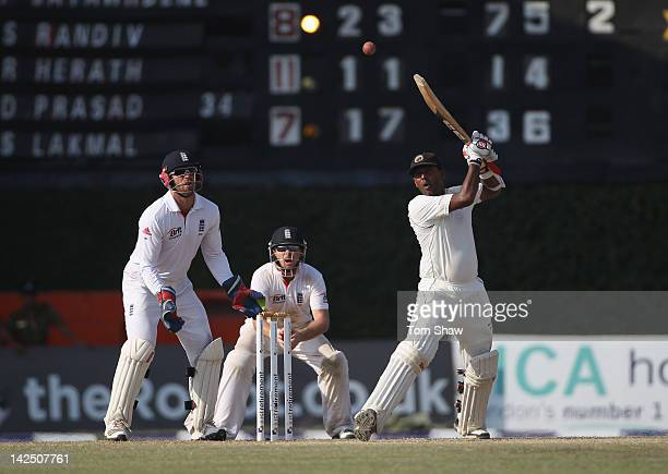 Thilan Samaraweera of Sri Lanka hits out during day 4 of the 2nd test match between Sri Lanka and England at the P Sara Stadium on April 6 2012 in...