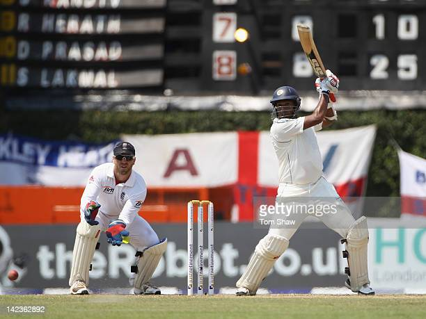Thilan Samaraweera of Sri Lanka hits out during day1 of the second test match between Sri Lanka and England at the P Sara Stadium on April 3 2012 in...