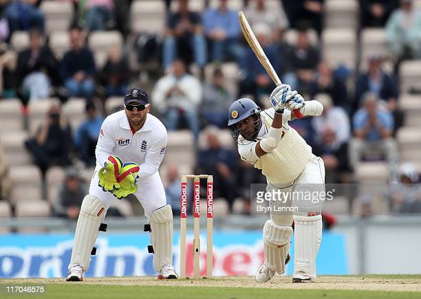 Thilan Samaraweera of Sri Lanka hits out watched by wicketkeeper Matt Prior of England during day five of the 3rd npower Test Match between England...