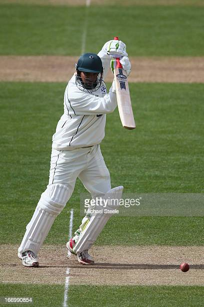 Thilan Samaraweera of Worcestershire plays to the offside during day three of the LV County Championship Division Two match between Glamorgan and...