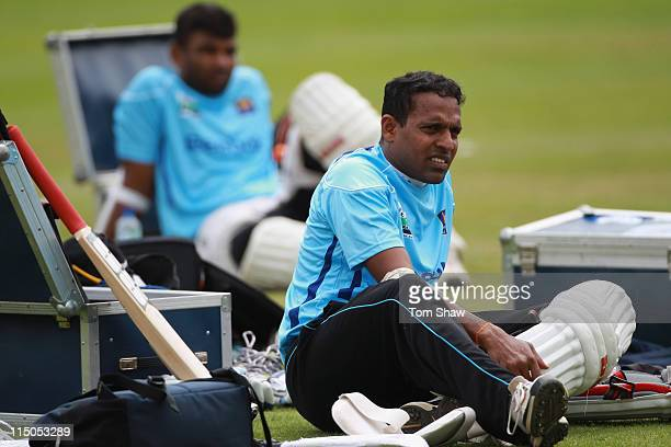 Thilan Samawareena of Sri Lanka looks on during the Sri Lanka nets session at Lord's Cricket Ground on June 2 2011 in London England