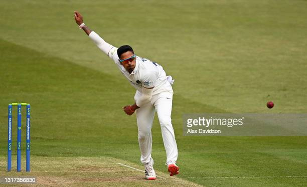 Thilan Walallawita of Middlesex bowls during Day Two of the LV= Insurance County Championship match between Middlesex and Gloucestershire during at...