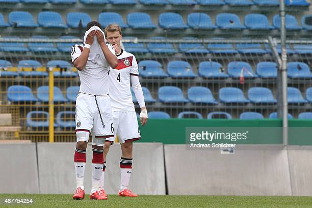 Thilo Kehrer and Lukas Klostermann of Germany , during the UEFA Under19 Elite Round match between U19 Germany and U19 Slovakia at Carl-Benz-Stadium...
