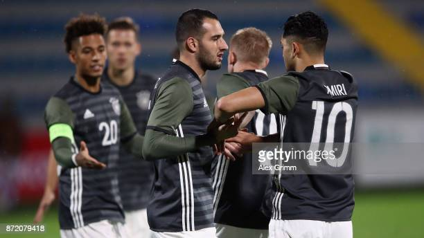 Thilo Kehrer Levin Oeztunali and Nadiem Amiri of Germany celebrates his team's first goal by team mate Marcel Hartel during the UEFA Under21 Euro...