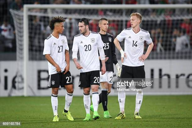 Thilo Kehrer Levin Oeztunali Odisseas Vlachodimos and Timo Baumgartl of Germany react after the U21 International Friendly match between Germany U21...