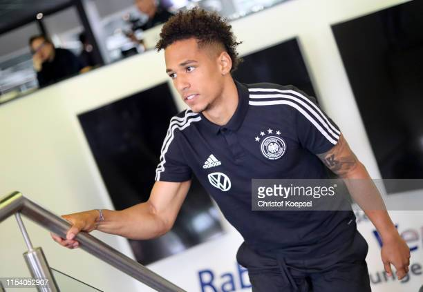 Thilo Kehrer looks on prior to a press conference ahead of their UEFA European Championship Qualifier match against Belarus at Stadion de Koel on...
