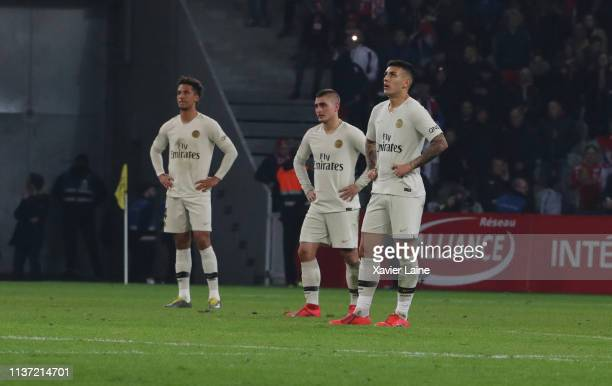 Thilo Kehrer Marco Verratti and Leandro Paredes of Paris SaintGermain are disapointed during the Ligue 1 match between Lille OSC and Paris...