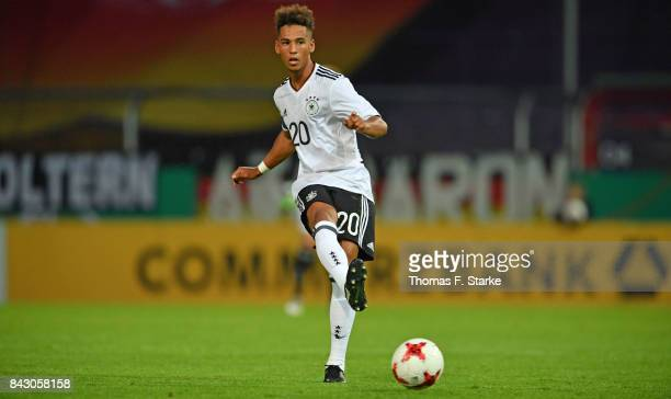 Thilo Kehrer of Germany runs with the ball during the UEFA Euro 2019 Qualifier match between Germany U21 and Kosovo U21 at Osnatel Arena on September...