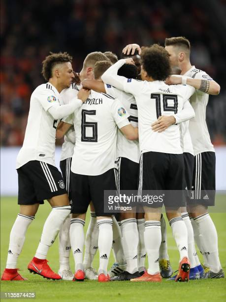 Thilo Kehrer of Germany Toni Kroos of Germany Joshua Kimmich of Germany Serge Gnabry of Germany Leroy Sane of Germany Niklas Sule of Germany during...