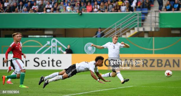 Thilo Kehrer of Germany U21 heads a shot at goal during the International friendly match between Germany U21 and Hungary U21 at the Benteler Arena on...