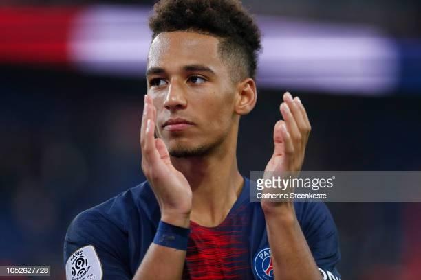 Thilo Kehrer of Paris SaintGermain celebrates the victory after the Ligue 1 game between Paris SaintGermain and Amiens SC at Parc des Princes on...