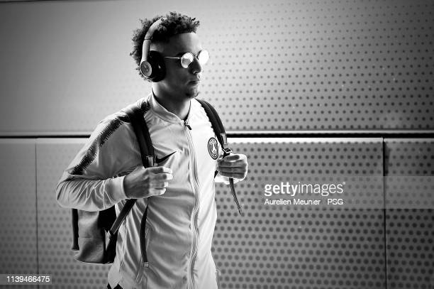 Thilo Kehrer of Paris Saint-Germain travels to Toulouse for the Ligue match between Paris Saint-Germain and Toulouse FC on March 31, 2019 in...