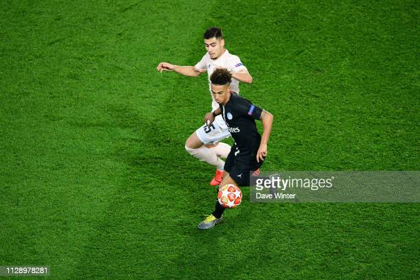 Thilo Kehrer of PSG and Andreas Pereira of Man Utd during the UEFA Champions League Round of 16 Second Leg match between Paris Saint Germain and...
